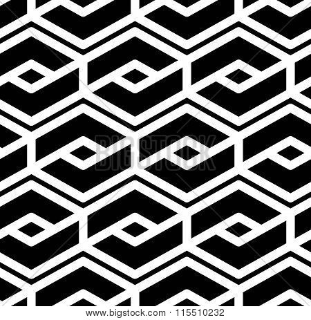 Black And White Abstract Textured Geometric Seamless Pattern. Symmetric Monochrome Vector Textile