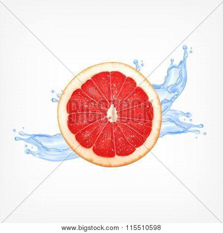 Grapefruit slice with water