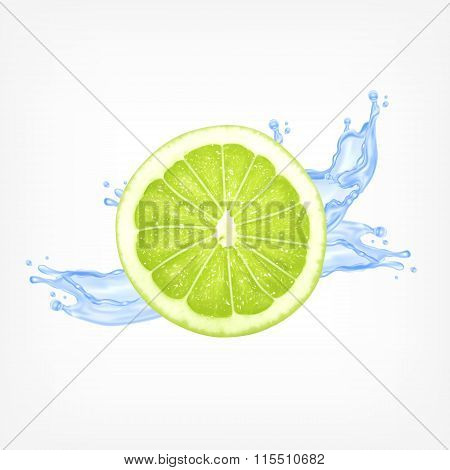 Lime slice with water