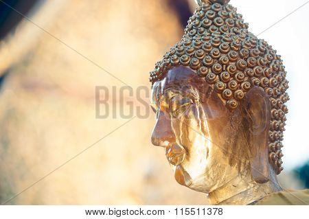 Face of outdoor Buddha Statue on Wat Phra That Doi Suthep In Thailand.