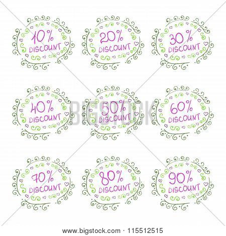 Vector Set of Sketch Discount Tags