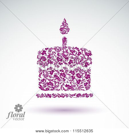 Vector burning wax candle flower-patterned illustration of twinkle flame, spiritual stylized icon.