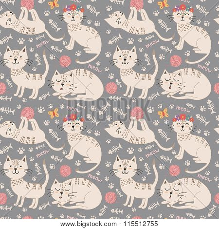 Funny seamless pattern with cute cats. Vector texture