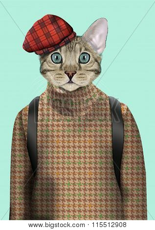 Cat Boy Dressed Up In Urban Style.