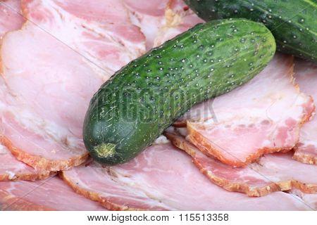 Cucumber On Ham Meat
