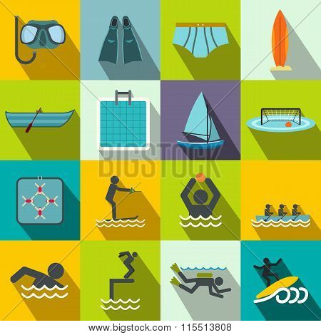 Water sport flat icons