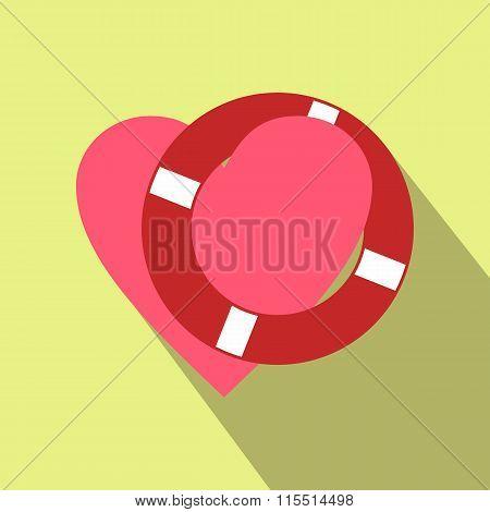 Heart with lifeline flat icon