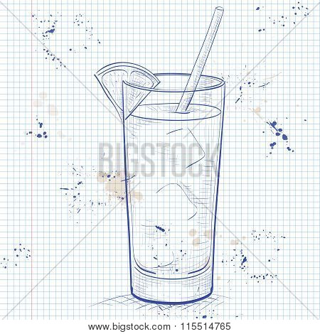 Screwdriver scetch cocktail on a notebook page