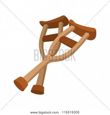 Wooden crutches cartoon icon
