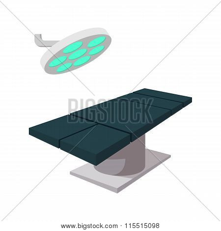Operating table with surgery lamp cartoon icon
