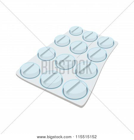 Round pills in a blister pack cartoon icon