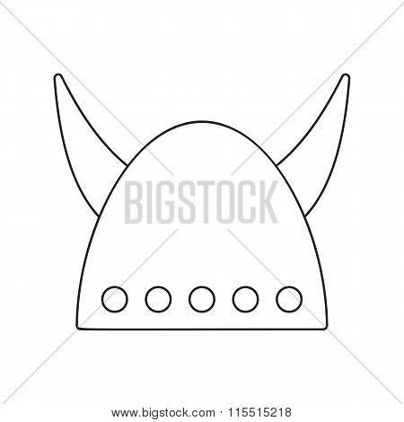 Viking helmet with big horns thin line icon