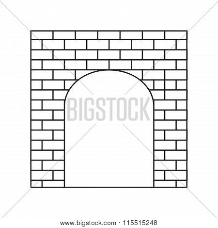 An old brick gate thin line icon