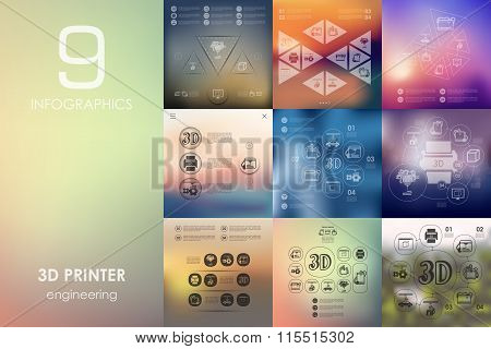 three d printer infographic with unfocused background