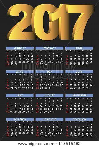 2017 Black Calendar English