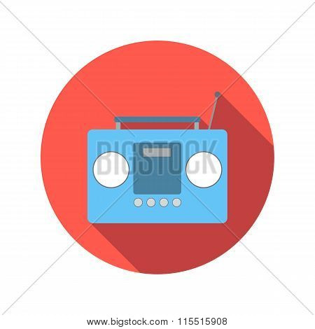 Boom box or radio cassette tape player flat icon