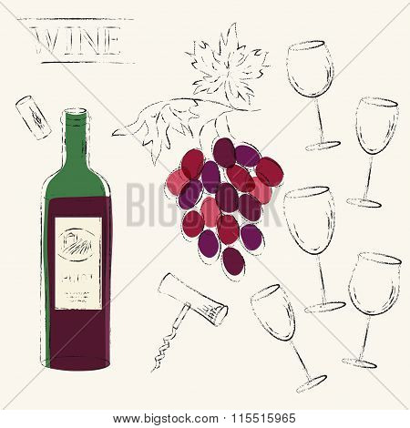 Vector Sketch Illustration Of Red Wine Bottle, Wine Grapes, Cork, Corkscrew And Red Wine Glasses.