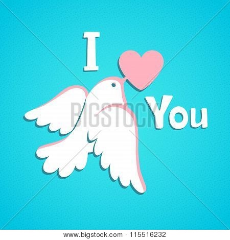 Valentine card with white dove and heart.