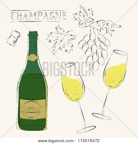 Champagne Bottle, Flute Glasses, Wine Grapes And Cork Sketch Illustration