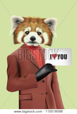 Red Panda Dressed Up In Casual Office Style.