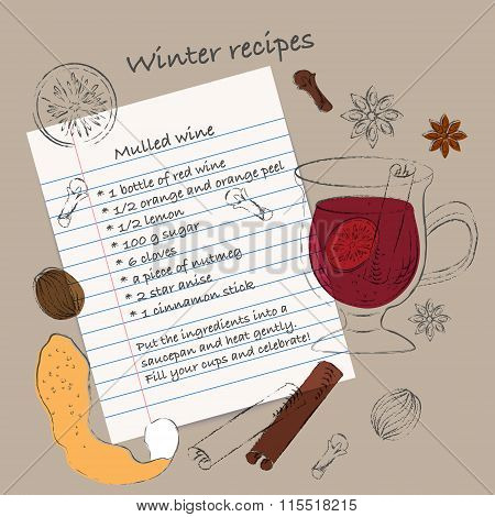 Mulled Wine Sketchbook Style Recipe With Ingredients Drawings