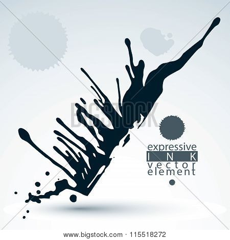 Vector Black Acrylic Abstract Spot, Brush Painted Design Element, Graphic Creative Inky Illustration