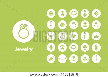 Set of jewelry simple icons