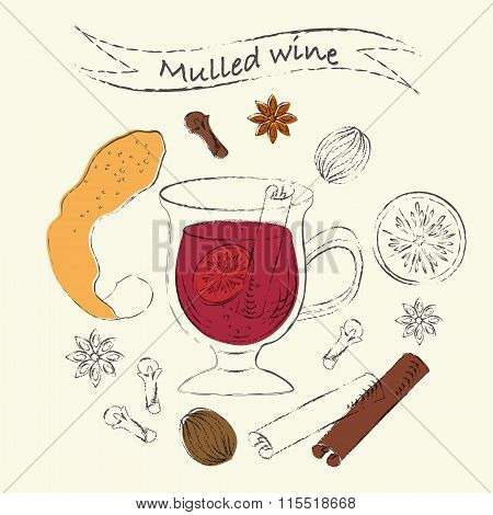 Mulled Wine Ingredients Sketch Drawing Set With Spices