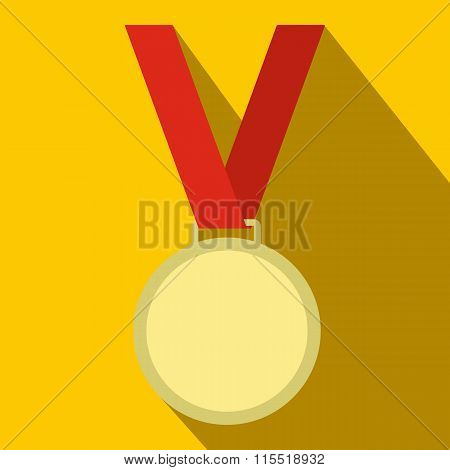 Medal with red ribbon flat icon