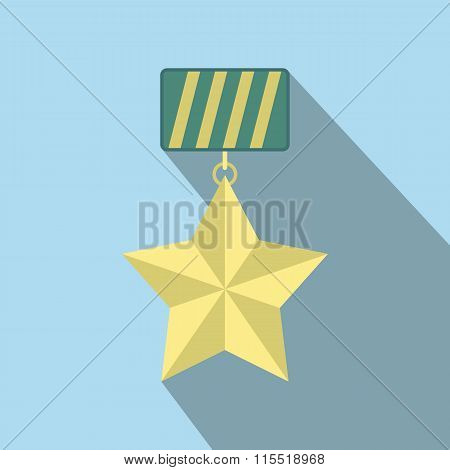 Star medal flat icon