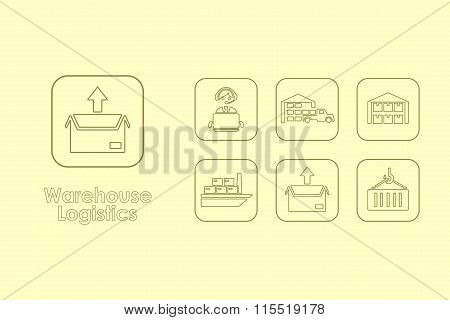Set of warehouse logistics simple icons