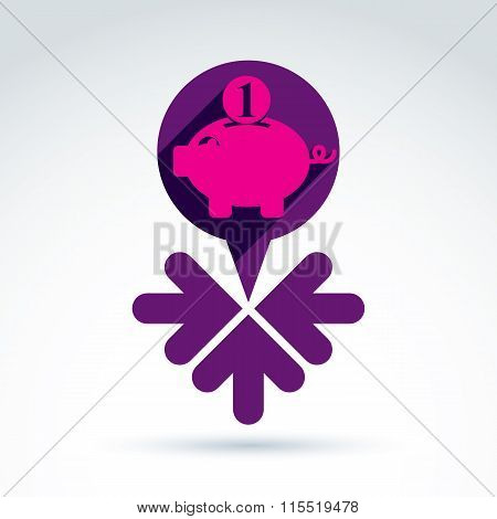 Conceptual Personal Earnings Icon. Business Idea Discussion Concept, Chat On Economics And Investmen