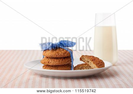 Oatmeal Cookies, Halves Of Cookies On Plate, Glass Of Milk