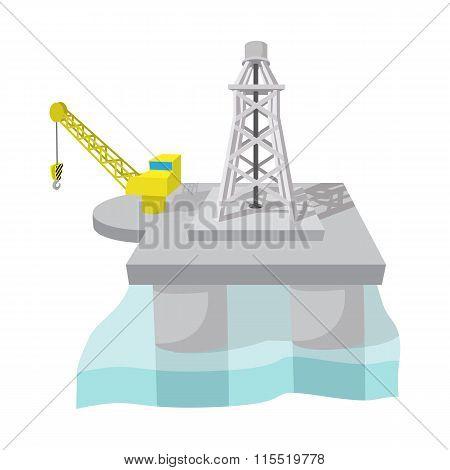 Oil derrick in sea cartoon