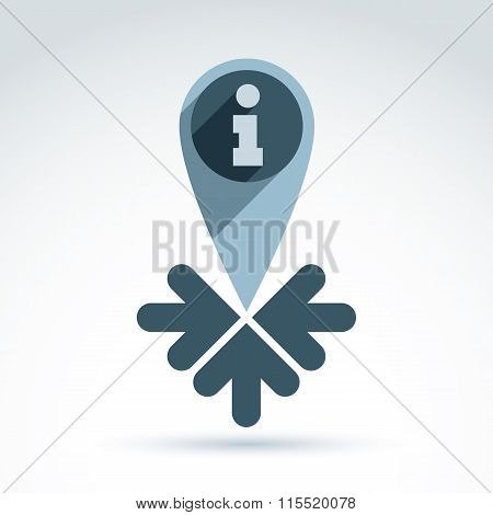 Vector Map Pointer With An Information Sign Placed In A Circle. Conceptual Consultation Bureau Emble