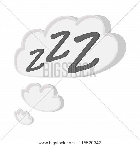 White cloud with ZZZ cartoon icon