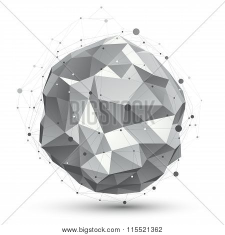 Vector Digital 3D Abstraction, Lattice Geometric Orbital Element, Perspective Wireframe Unusual Illu