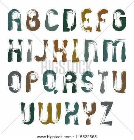 Vector Unusual Grungy Font, Handwritten Frayed Watercolor Capital Letters Isolated On White
