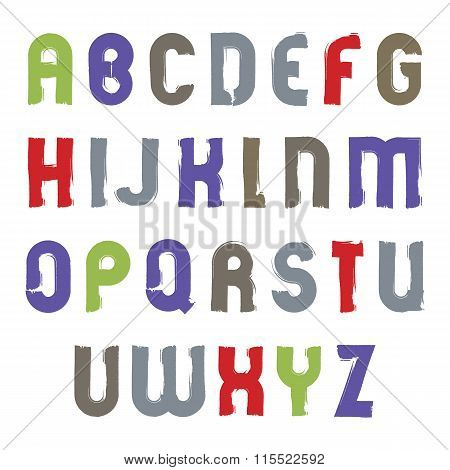 Vector Alphabet Cartoon Capital Letters Set, Hand-drawn Colorful Script, Bright Brushed Drop Caps