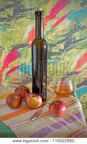Still Life With Apples And Wine