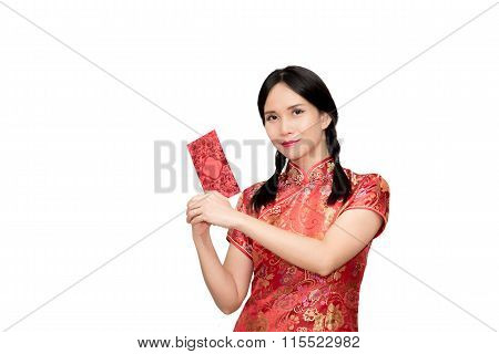 Asian Lady In Red  Cheongsam Suit  Holding Red Envelope Or Ang-pow