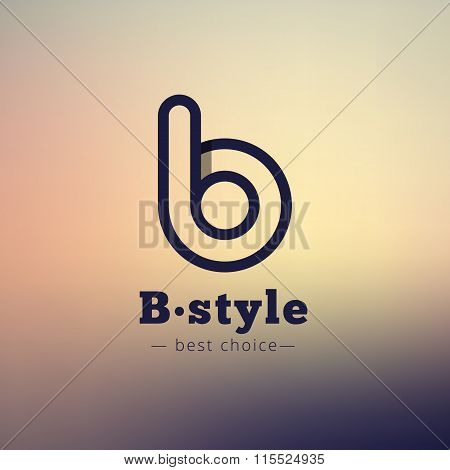 Vector B Letter Minimalistic Logo. Abstract Logotype On Blurred Background