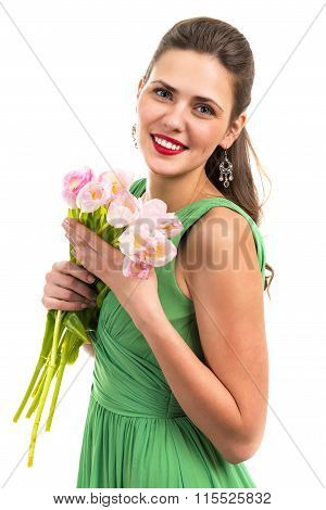 Portrait of a beautiful smiling woman with flowers