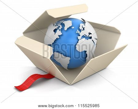 Open package with Globe. Image with clipping path