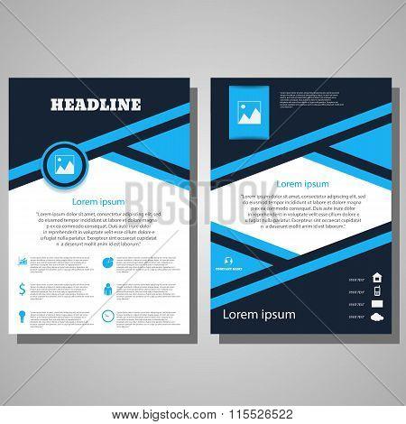 Brochure Blue Flyer Design Layout Template.infographic Vector Eps 10