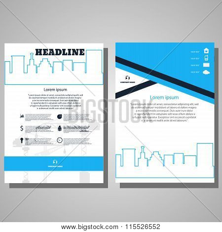 Brochure Flyer Design Architecture Design Concept. Business Brochure Template. Card With Headline Ti