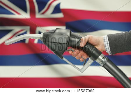 Fuel Pump Nozzle In Hand With Usa States Flags On Background - Hawaii