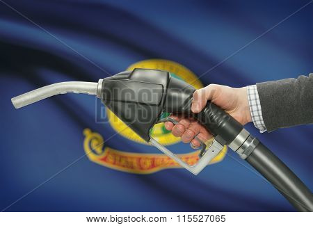 Fuel Pump Nozzle In Hand With Usa States Flags On Background - Idaho