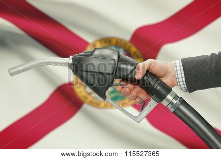 Fuel Pump Nozzle In Hand With Usa States Flags On Background - Florida