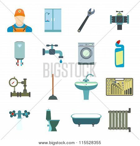 Sanitary engineering flat icons